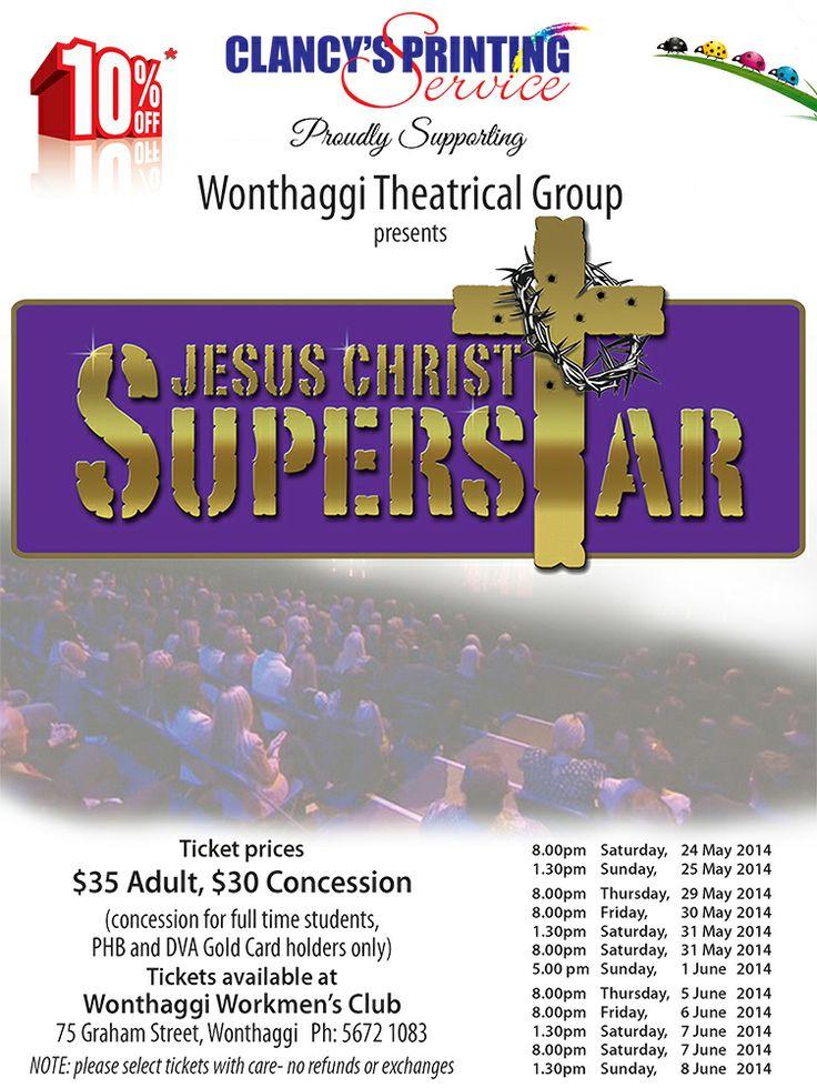 Clancy's Printing Service Jesus Christ Superstar promotional poster