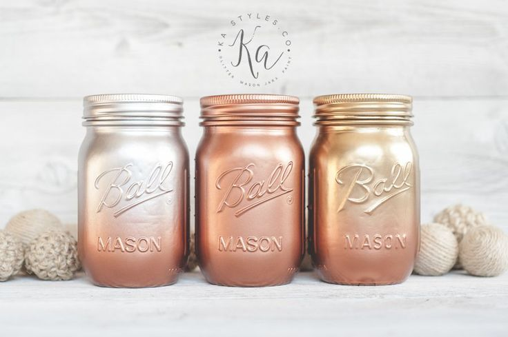 Mason Jar round up time again! Ombre style painted jars. These are some styles Ive painted over the past few years. All these jars are done using spray paint. Its just a picture share so you can see colors and be inspired to ombre paint.  Some metallic ombre. You can see some metallic spray ...