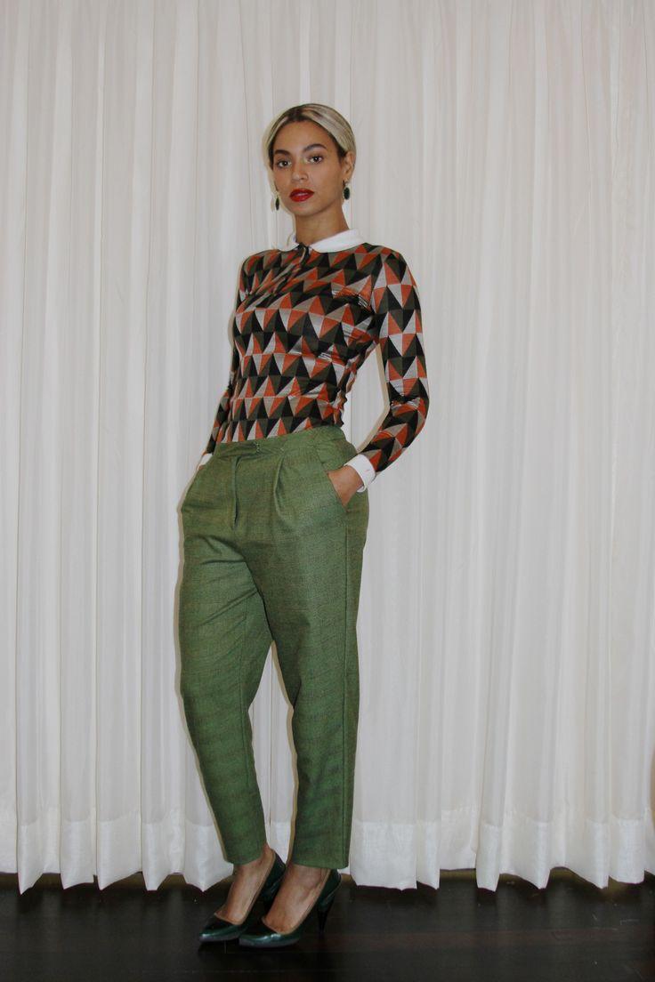 chevron blouse + olive pants + black heels