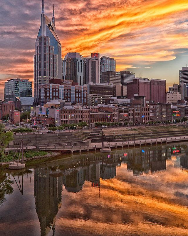 Brilliant Nashville skyline at sunset photograph by Nashville photographer William H. Hobbs, printed on metal (See LINK IN BIO to order yours). Metal prints are made by by infusing dyes directly into specially coated aluminum sheets, giving images near-magical luminescence and vibrant colors. www.Shop615.com . #shoplocal #shoplocal . Made, Sold, and Shipped by @billhobbs