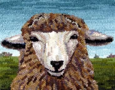 sheep Designed and hooked by Karen Poetzinger.