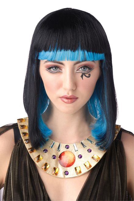 Egyptian Sapphire Cleopatra Wig - Get on your Dark Horse this Halloween and be a great ruler with this colourful Cleopatra wig!  dipped in sapphire blue, this wig has layers of blue fibers with a black overlay. In a classic shoulder length cut, the bangs are perfect for hiding your real hair this Halloween. The wig cap is a light mesh and has an elastic to fit most heads.  Bring the Egyptian goddess to life this Halloween and sparkle for a night on the town. #egyptian #yyc #costume #wig