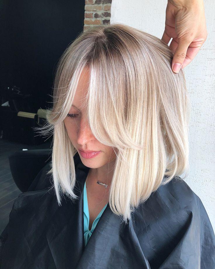 Blonde medium length haircut | blonde lob #blonde …
