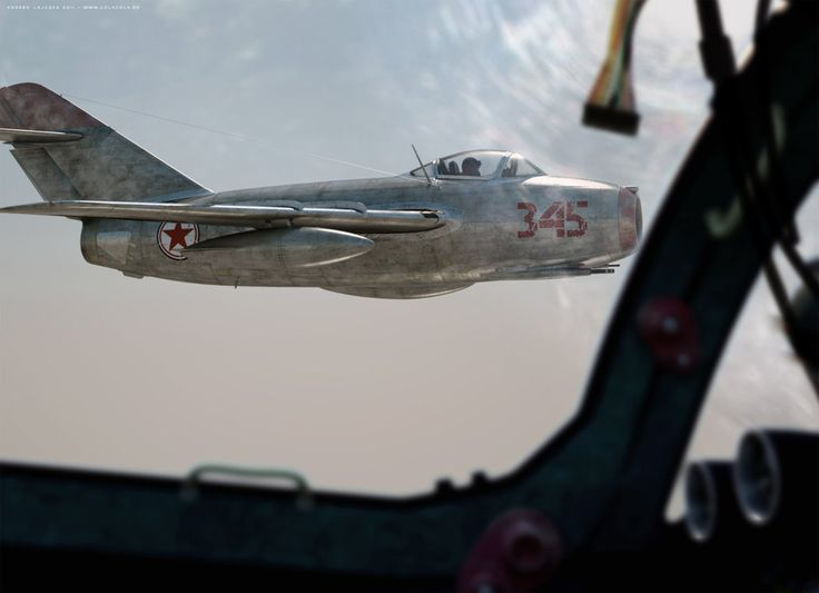 a nkorean marked mig 15 in formation flight with his comrades