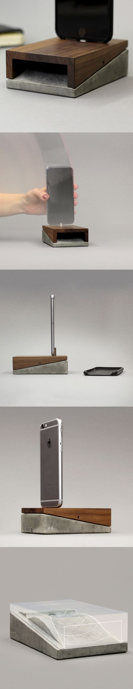 The Mobi combines the roughness of concrete and the elegance of wood. The result is a sleek, adaptable charging station, concealed in a minimalistic clean-lined object. Smartly equipped with a micro-suction pad free of adhesives, it can be affixed securely to any flat surface, supporting the iPhone with or without a case and enabling one-handed plugging and unplugging.