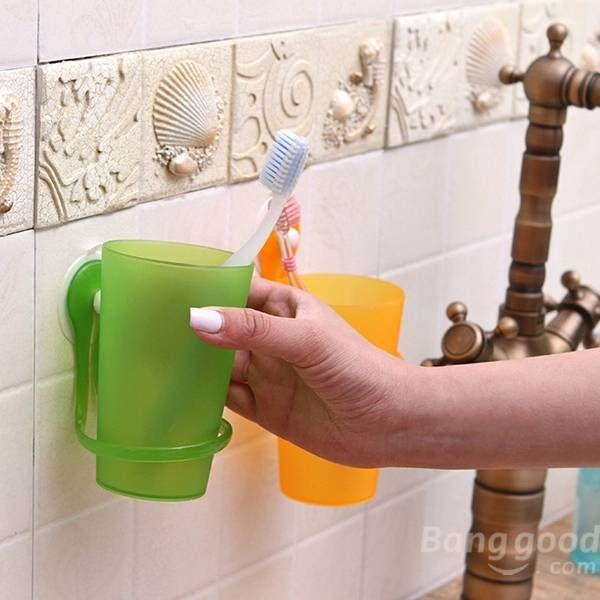 Escova de dentes pasta de dentes titular banheiro parede copo escova de dentes com otário na Banggood
