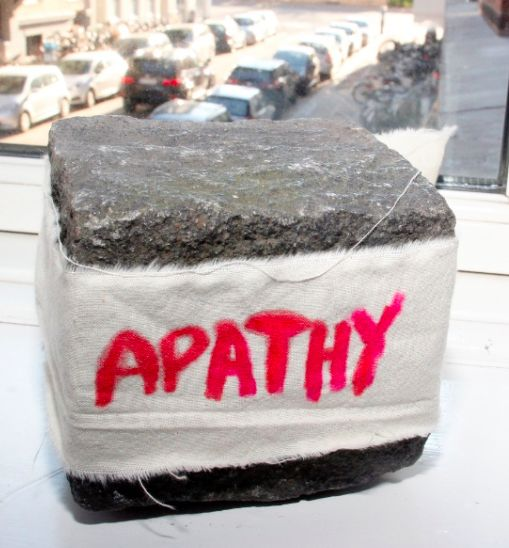"Apathy, cotton fabric on pavé stone, 11 x 9 cm Biennalist  #BERLINBIENNALE  : Fear of content "" ( Berlin Biennial )"