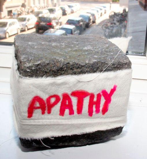 """Apathy,cotton fabric on pavé stone, 11 x 9 cm Biennalist  #BERLINBIENNALE  : Fear of content """" ( Berlin Biennial )"""