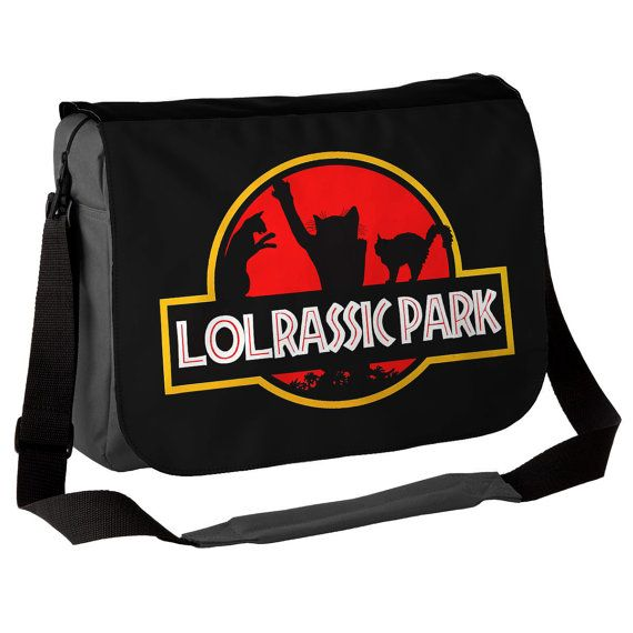 Lolcat / Jurassic Park Inspired Messenger Bag - Parody Fun Bag - ideal gift for cat lovers and dino film fans! - Cat bag!