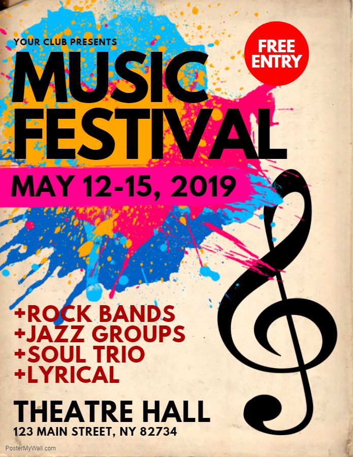 Music festival flyer poster social media template creative design