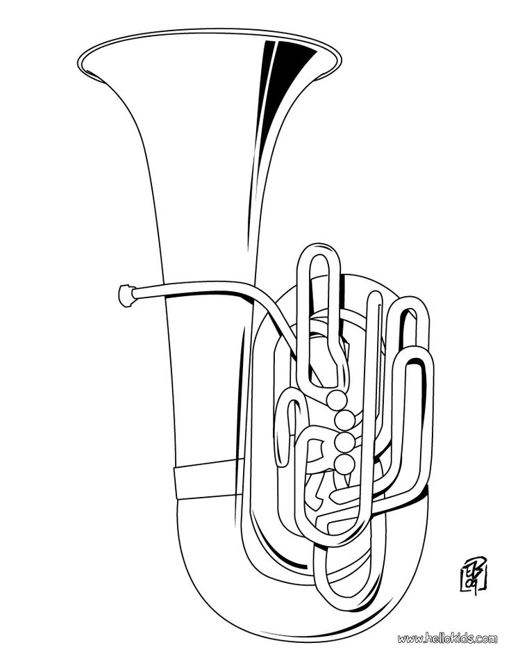 Tuba coloring pages ~ MUSICAL INSTRUMENT COLORING SHEETS « Free Coloring Pages ...