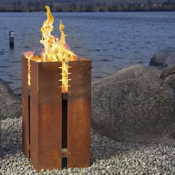 fire place, corten steel, simple design
