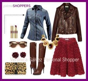 falda marsala, estilismo casual y muy femenino creado po veronica galvez-personal shopper en Mallorca trabaja en www.palmashoppers.com