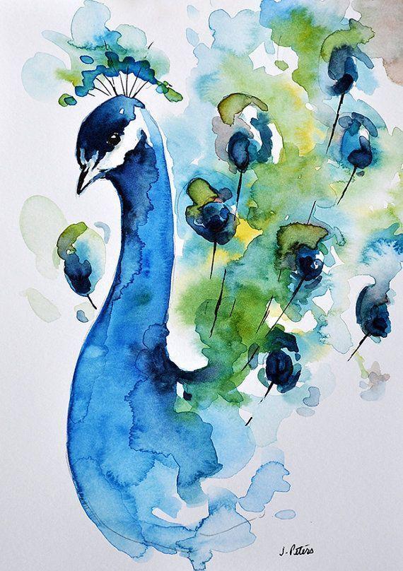 ORIGINAL Watercolor Bird Painting, Peacock Painting 6×8 inch, Green Blue Art #wa…