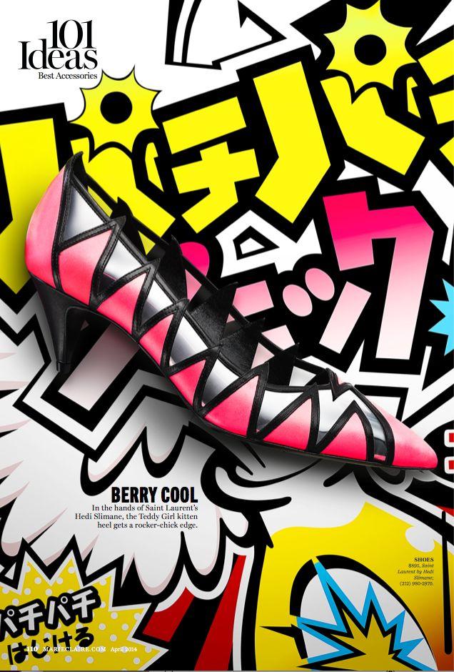 saint laurent, shoe, kitten heel, shoes, kyle anderson, marie claire, trends, neon, pop, japanese, candy, editorial, cool,
