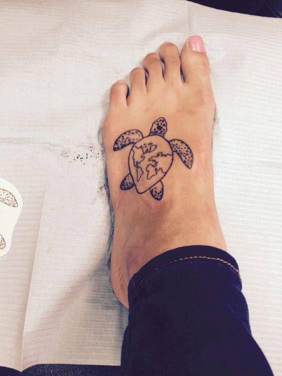 Elegant Turtle Tattoo On Foot