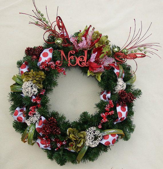 Peppermint Wreath Holiday wreath Christmas wreath Home decor