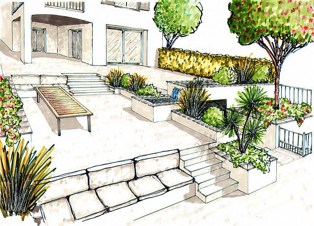 Multi niveaux terrasses pinterest for Conception de jardin terrasse