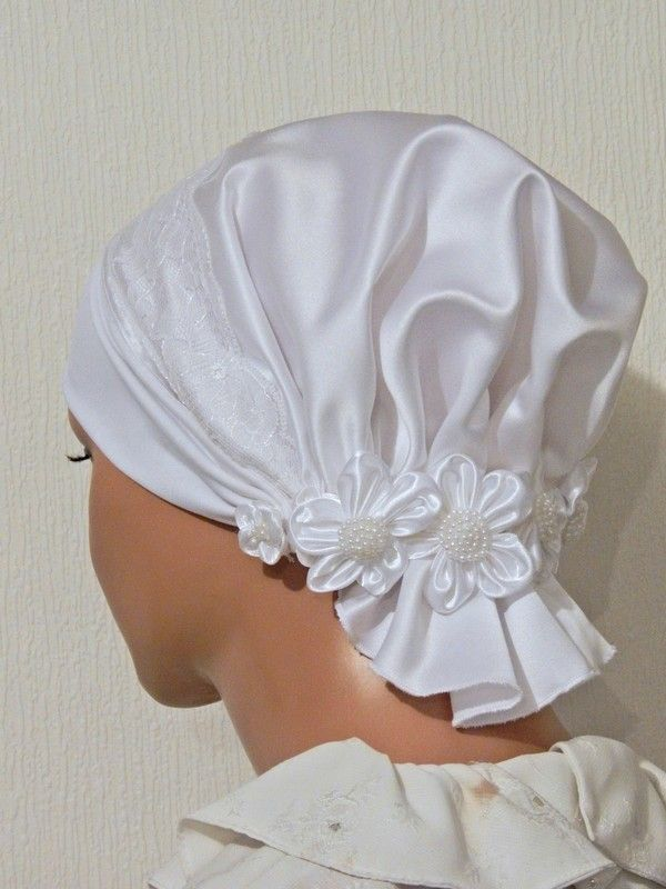 White Bridal Cap Tznius with Lace and Beaded Flowers Trim