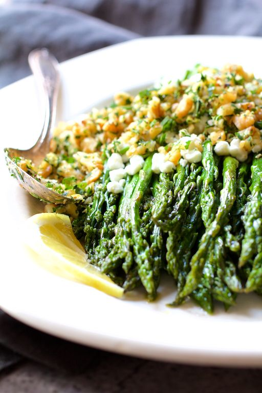 Unique Roasted Asparagus with Goat Cheese and Walnut Lemon Gremolata