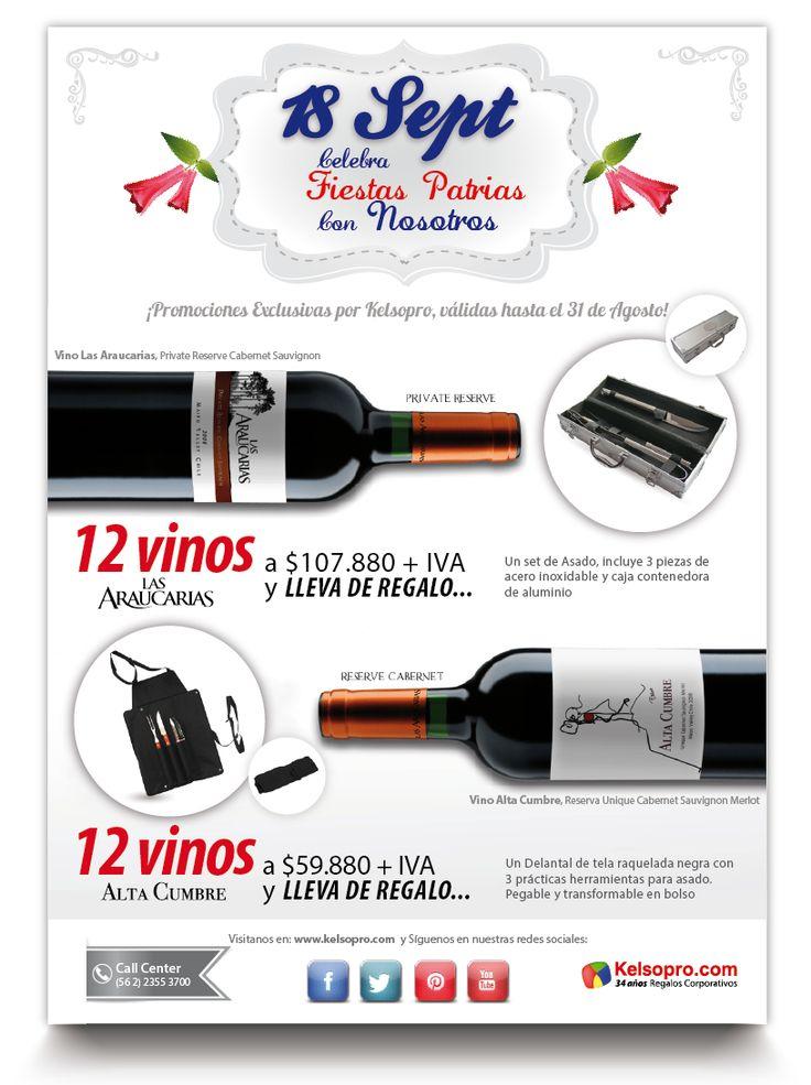 PROMOCIÓN hasta el 31 de agosto o hasta AGOTAR STOCK. Para celebrar las Fiestas Patrias con un excelente vino chileno.