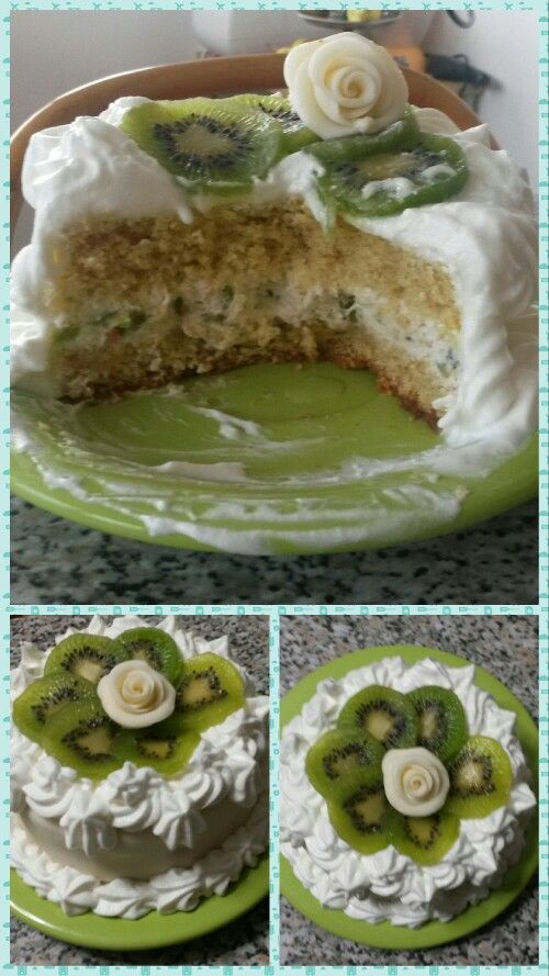 Torta con farina integrale e crema di kiwi per il compleanno della mamma!!