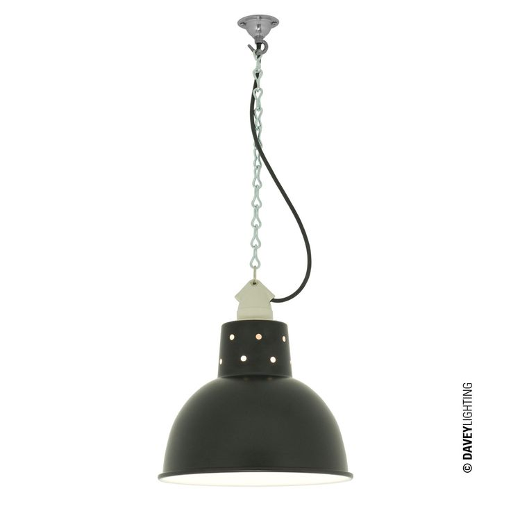 7165 Spun Reflector Ceramic Lampholder By Davey Lighting Black Pendant LightPendant