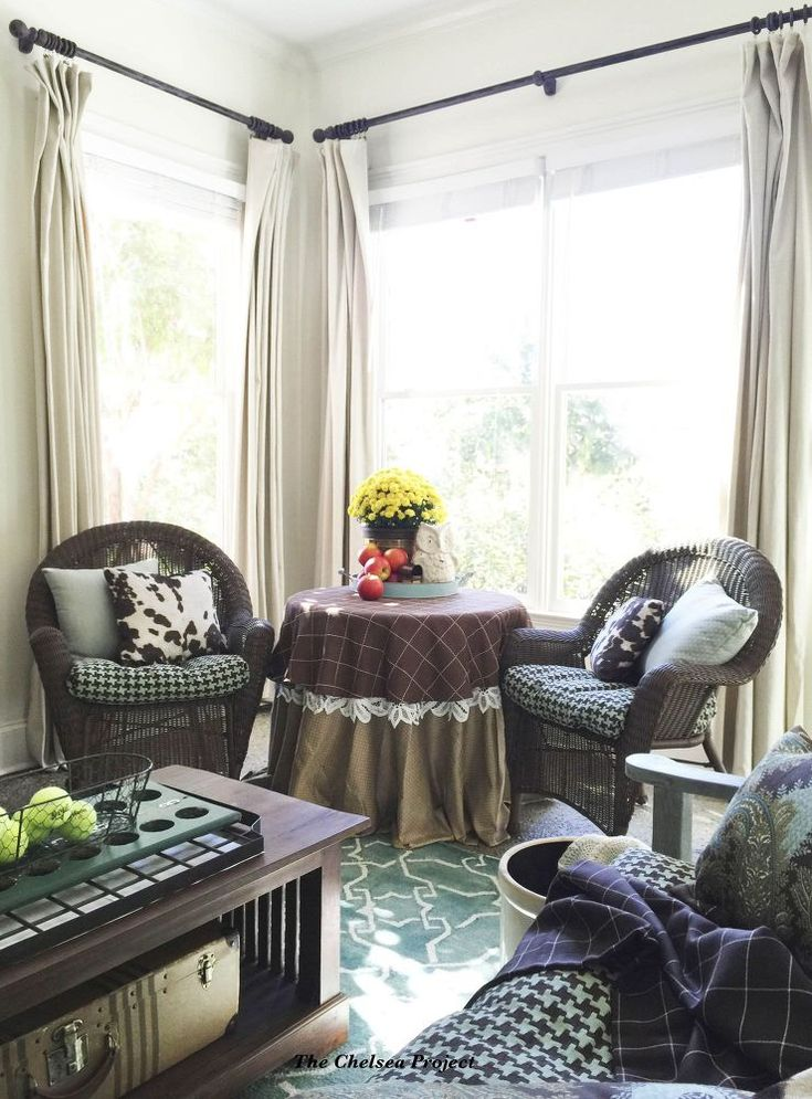 No-sew Slipcovers for Cushions  and No-sew Draperies via The Chelsea Project - #1HourProjects