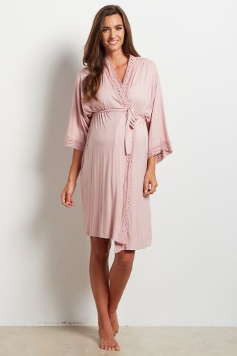 Beige Crochet Trim Delivery/Nursing Maternity Robe