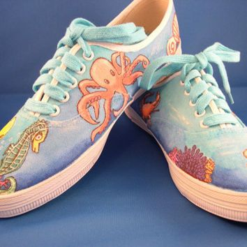 Cute Octopus Sea Creatures Women Casual Sneakers Shoes Canvas Athletic Fashion Designer