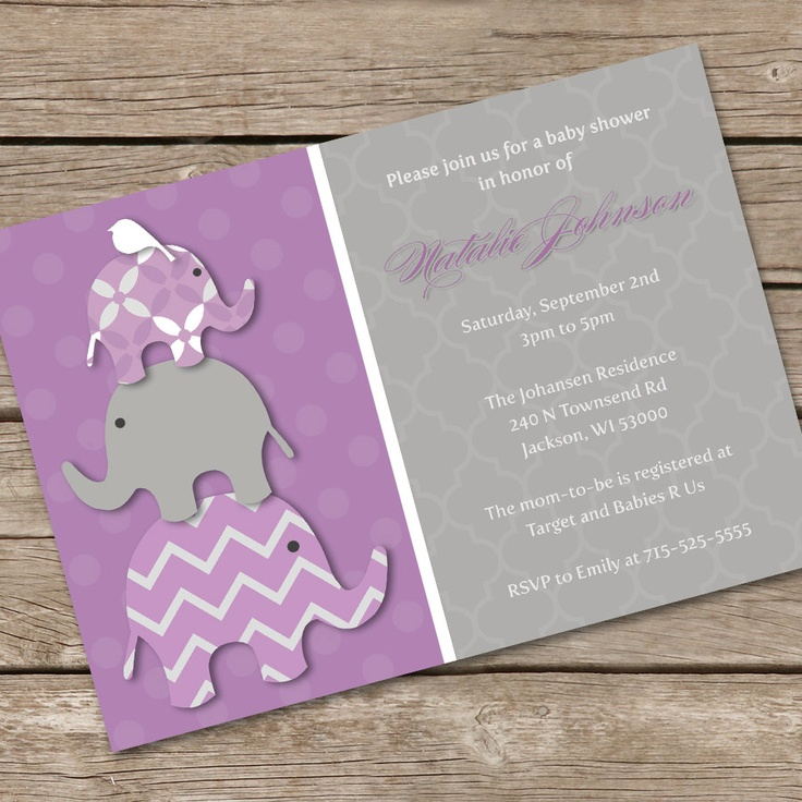 purple elephants baby shower invitation diy printable baby showers