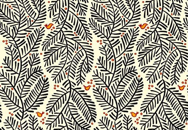 hand drawn branches and birds pattern
