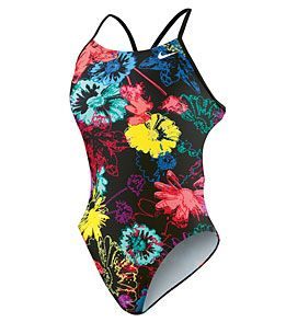 Nike Swim Ink Floral Cut Out Tank - in midnight navy