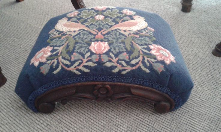 """Strawberry Thief stool top, stitched by Carolyn Taylor. """"I am so thrilled with the finished stool. I am far from being dead and my three girls are debating over who should be left such an heirloom."""""""