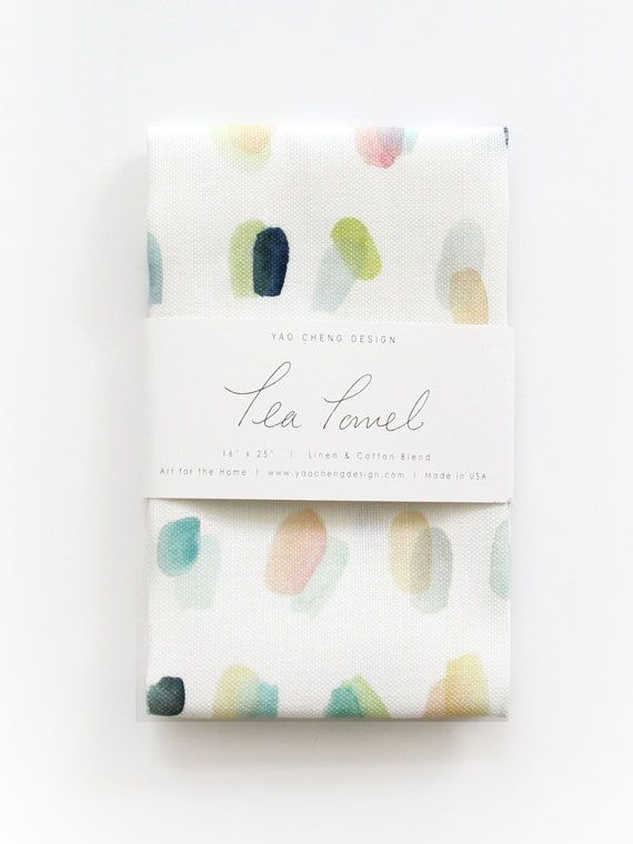 Spots Overlay  Watercolor Tea Towel by YaoChengDesign on Etsy