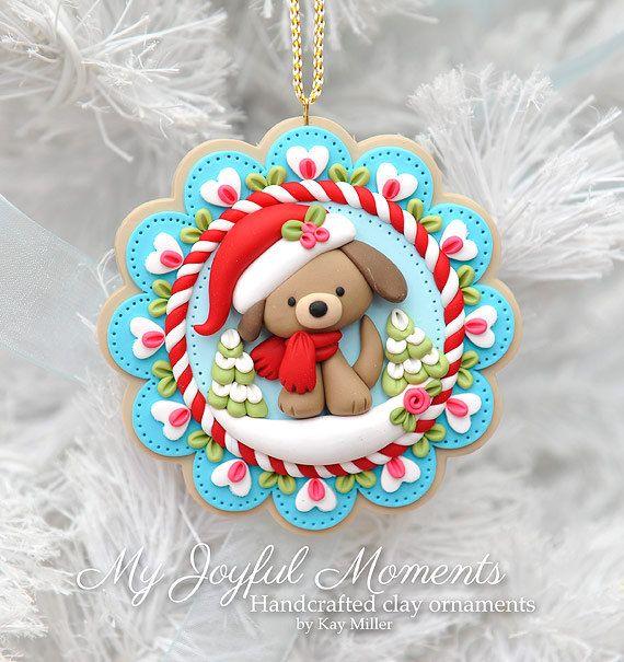 Handcrafted Polymer Clay Winter dog Ornament por MyJoyfulMoments