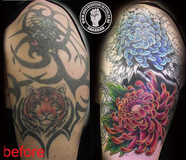 Award-Winning Tattoo cover ups | 3rd-sitting-on-tribal-cover-up