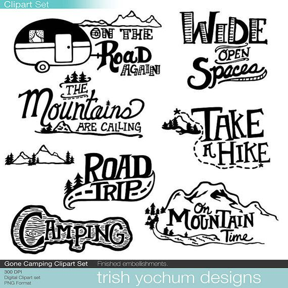 Mountain Clipart Digital, Camping Outdoor Adventure Clipart, Camping Travel Trailer, Scrapbook PNG Digital, Scouts Hike Nature, Instant Download. This clipart set