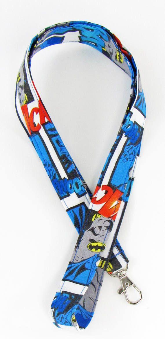 Batman lanyard, badge holder, ID badge holder, fabric lanyard, badge lanyard, name badge holder, key lanyard, stocking stuffer by fabricfundesigns on Etsy
