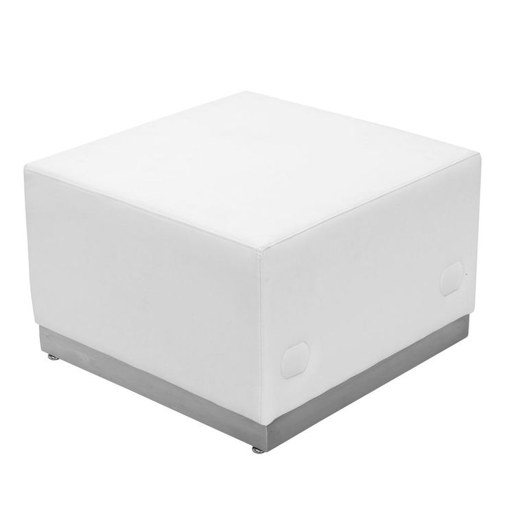 Hercules Alon Series White Leather Ottoman with Brushed Stainless Steel Base