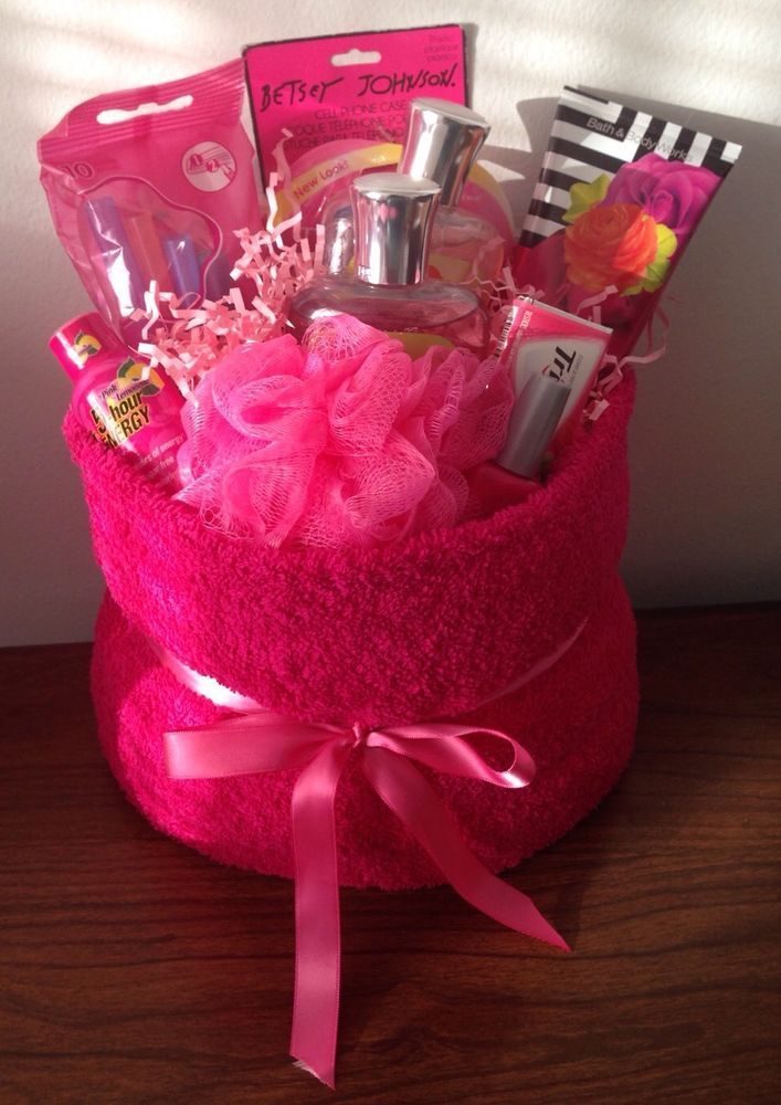 Details About Pink Themed Gift Basket Birthday Holiday Celebrate Congratulation Present