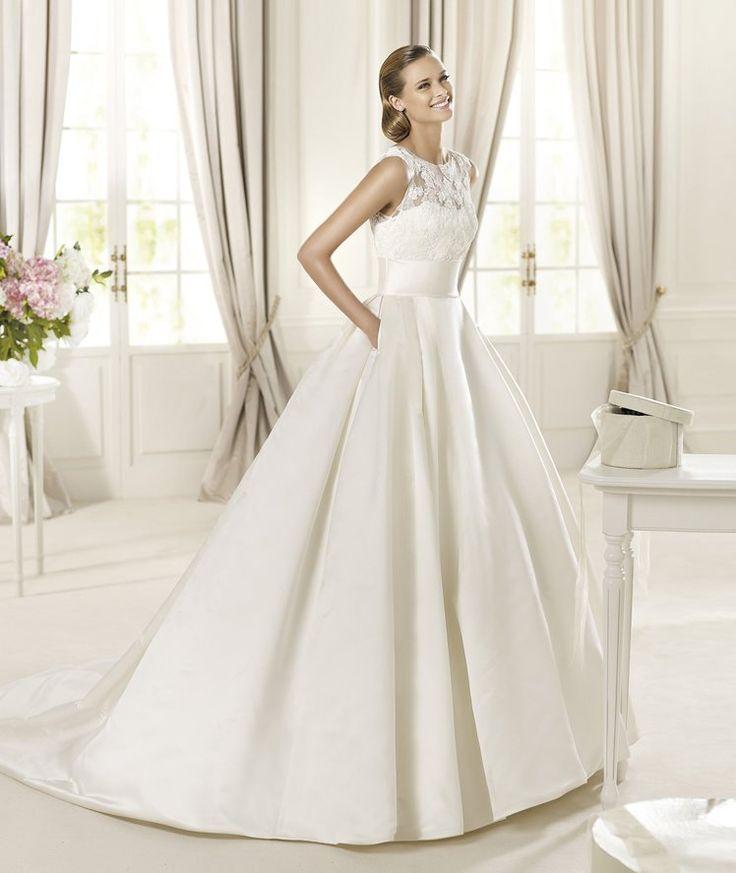 Classic Modest Nautical/Preppy Ivory White A Line Wedding Dress Pockets