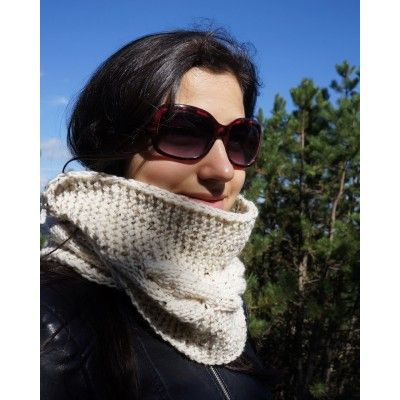Cream Hand Knitted Infinity Scarf