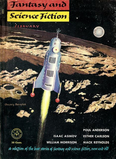 Fantasy and Science Fiction, Feb. 1954, cover by Chesley Bonestell