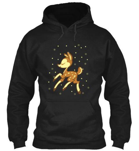 Happy Deer Black Sweatshirt Front
