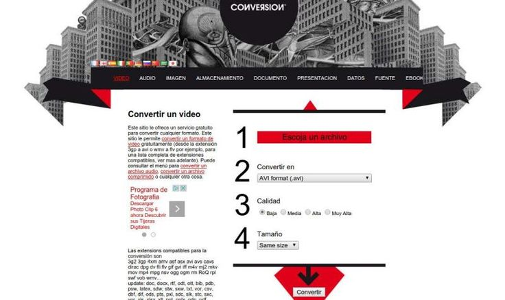 El convertidor es una web en español, y de uso gratuito, para convertir entre cientos de formatos de archivo e incluso entre distintas clases de archivos.