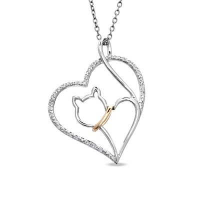 ASPCA® Tender Voices™ 1/10 CT. T.W. Diamond Cat Heart Pendant in Sterling Silver and 10K Gold Plate