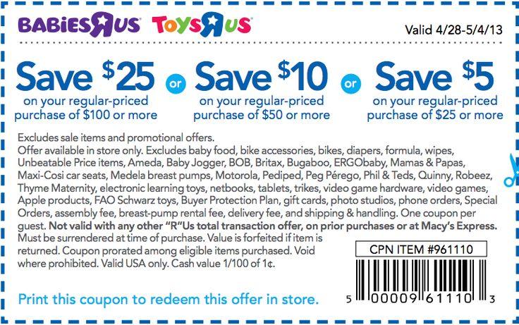 Toys R Us: $5-$25 off Printable Coupon | Children Clothing Printable ...