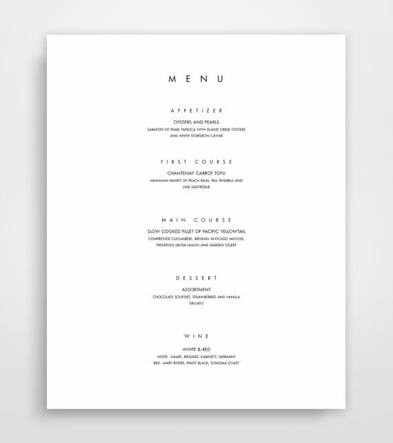 Minimalist Menu Design in both Microsoft Word & Apple Pages - The perfect template for wedding events, office dinners, holidays, and gatherings.