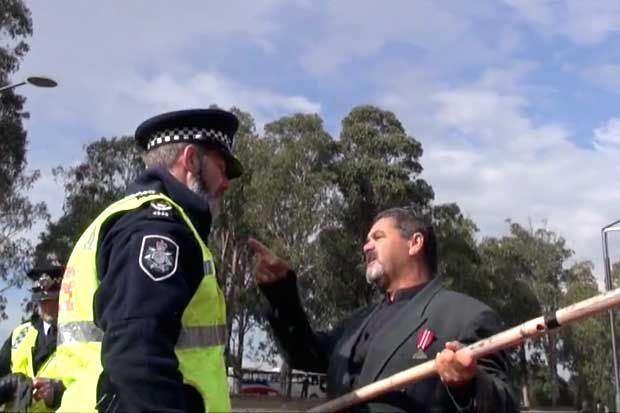 #Indigenousvets Police prevented a black ex-serviceman from joining the main Anzac parade in Canberra, because he was marching to acknowledge his people's war dead. A former Aboriginal ex-serviceman who's great un... http://winstonclose.me/2015/04/28/this-day-is-not-for-you-police-stop-black-digger-from-marching-for-frontier-wars-written-by-amy-mcquire/